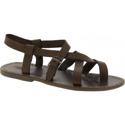 Gladiator sandals for men in mud color calf leather