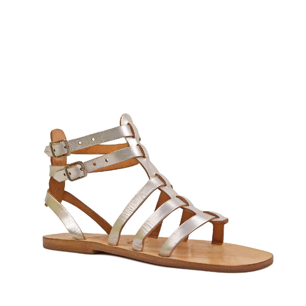 silberne damen sandalen im gladiator stil in italien von hand gefertigt gianluca das leder. Black Bedroom Furniture Sets. Home Design Ideas