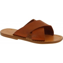 Men's tan leather slippers handmade in Italy
