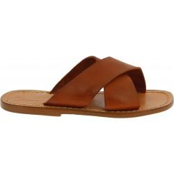 Zapatillas de cuero italiano marrón para hombre hecho a mano en Italia