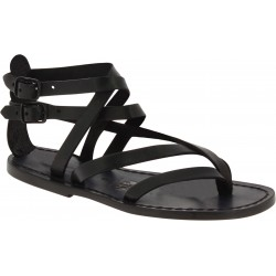 Handmade women's flat sandals in black leather