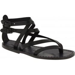 Sandalias de tiras planas para mujer en cuero negro hechas a mano