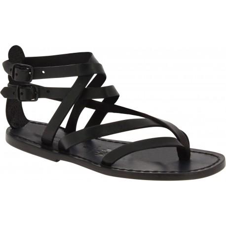 Flache Handgefertigte Damen-Sandalen mit Riemchen aus Schwarzen Leder