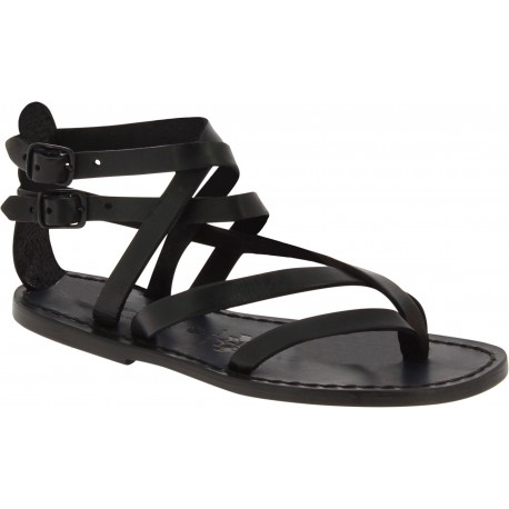 Sandales spartiates en cuir noir travaillé à la main en Italie