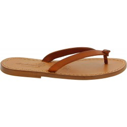 Handmade women's thong slippers in tan leather