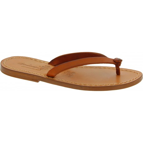 Chanclas flip flop para mujer hechas a mano en cuero marrón