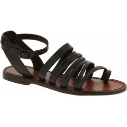 Women's thong sandals in dark brown leather handmade in Italy