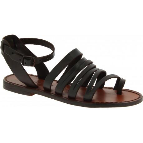 Sandales tong pour femme en cuir marron foncé travaillé à la main