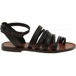 Sandali infradito donna fatti a mano in pelle marrone scuro