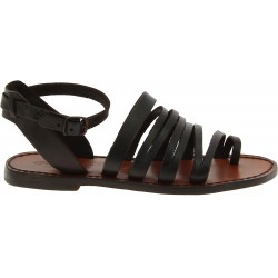 Sandalias de dedo para mujer hechas a mano en piel marron oscuro