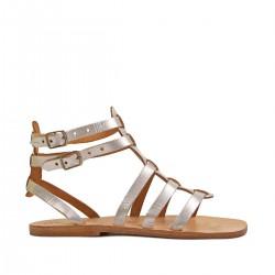 Silberne Damen-Sandalen im Gladiator-Stil in Italien von Hand gefertigt