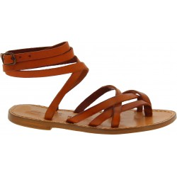 Women's tan leather strappy sandals handmade in Italy