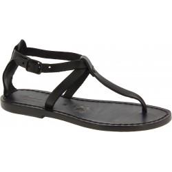 Handgefertigte Damen-Sandalen mit T-Steg aus schwarzem Leder