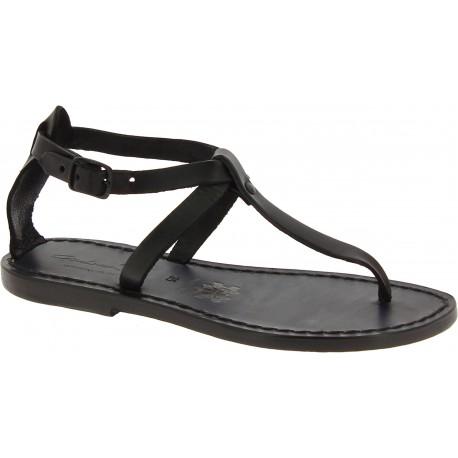 Sandalias de tiras de cuero negro para mujer artesanales