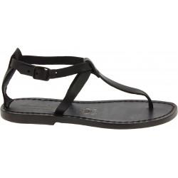 Handmade t-strap black leather flat sandals for women