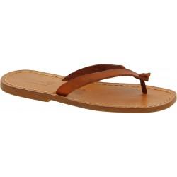 Sandalias de dedo de piel marrón para hombres hecho a mano