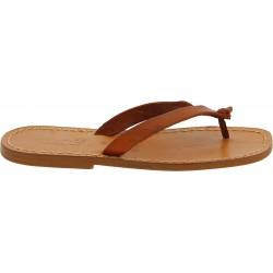Tan leather thongs sandals for men Handmade
