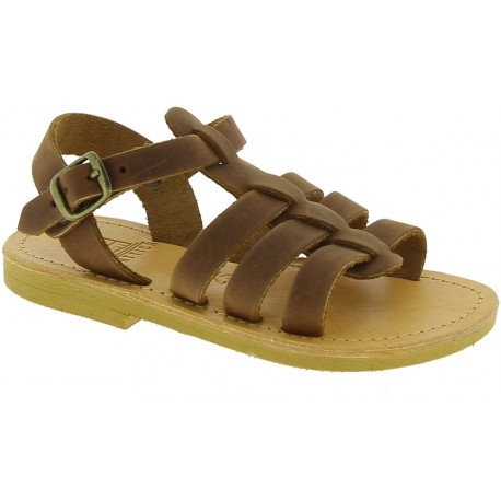 Attica Persephone child gladiator sandals in brown nubuck with buckle closure handmade in Greece
