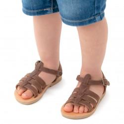 Sandali gladiatore da bambino in pelle nubuck marrone chiusura con fibbia
