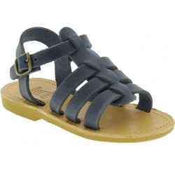 Child sandals in soft blue nubuck leather with buckle closure