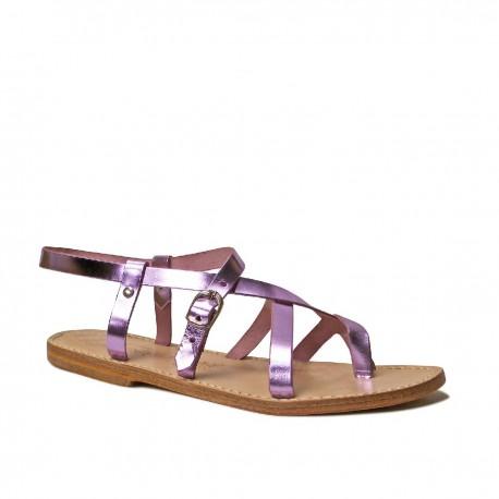 Damen-Riemchen-Sandalen mit pinker Laminierung in Italien von Hand gefertigt