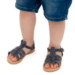 Sandalias para bebé en piel nobuck azul suave con cierre de hebilla