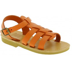Kinder sandale aus orangefarbenem Kalbs leder mit Schnallen verschluss