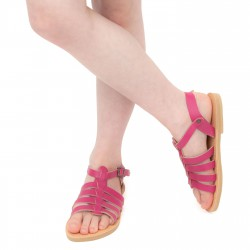 Girl's gladiator sandals in fuchsia calf leather with buckle closure