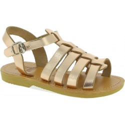 Girl's gladiator sandals in rose gold laminated calf leather with buckle closure