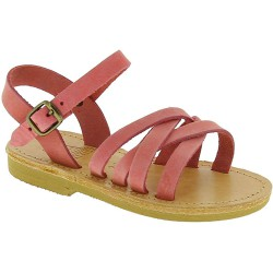 Girl's braided sandals in light pink nubuck leather with buckle closure