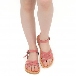 Geflochtene Sandalen für Mädchen aus hell rosa Nubuk leder mit Schnallen verschluss