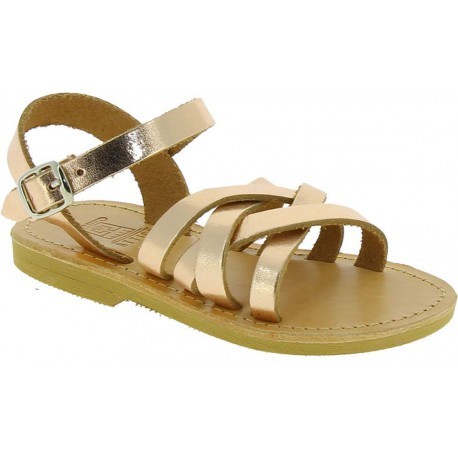 Girl's gladiator braided sandals in gold pink laminated calf leather with buckle closure