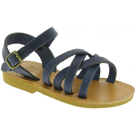 Child's gladiator braided sandals in blue nubuck leather with buckle closure