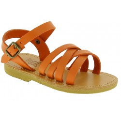 Child's gladiator braided sandals in orange calf leather with buckle closure