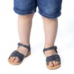 Sandali intrecciati gladiatore da bambino in pelle nubuck blu chiusura con fibbia
