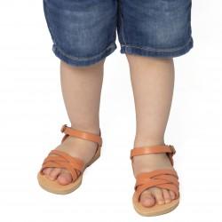 Sandali intrecciati gladiatore da bambino in pelle di vitello arancione chiusura con fibbia
