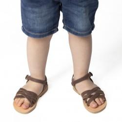 Sandali intrecciati gladiatore da bambino in pelle nubuck marrone chiusura con fibbia