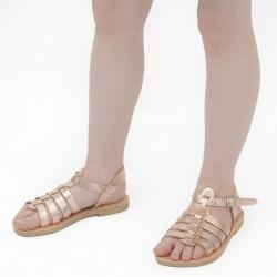 Sandali gladiatore da bambina in pelle di vitello laminata oro rosa chiusura con fibbia