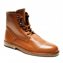 Men's tan leather ankle boots handmade in Italy