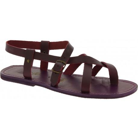 Sandales pour homme en cuir violet fait à la main en Italie