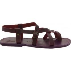 Gladiatoren sandalen aus echtem Violett Rinderleder