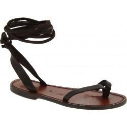 Sandales plates artisanales fait en Italie en cuir marron foncé