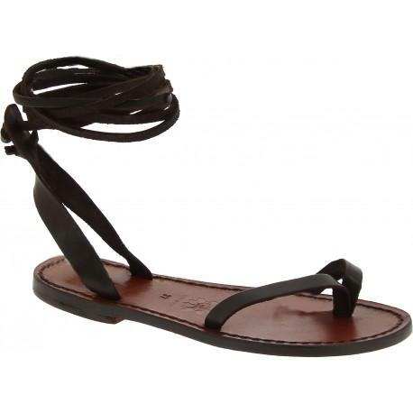 Handmade flat strappy sandals in dark brown calf leather