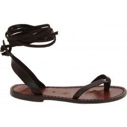 Sandalias de tiras planas de cuero marrón oscuro hecho a mano