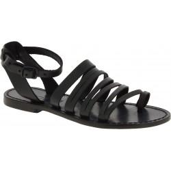 Sandales tong pour femme en cuir noir travaillé à la main