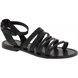 Women's thong sandals in black leather handmade in Italy