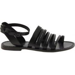 Damen-Riemchen-Sandalen aus Schwarzem Leder in Italien von Handgefertigt