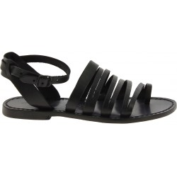 Sandalias de dedo para mujer hechas a mano en piel negro