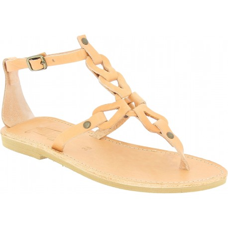 Women's thong sandals with handmade crossed laces in nude calfskin