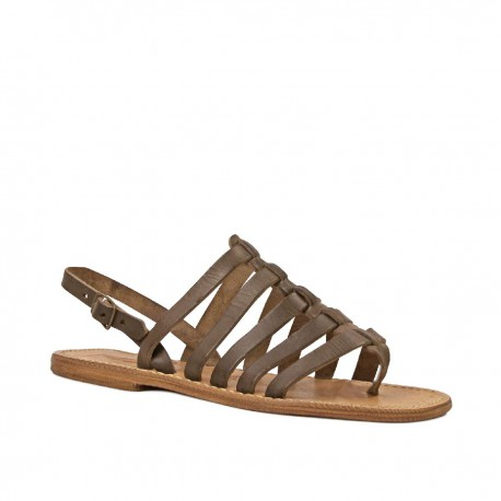 Vintage leather thong sandals for women in mud color